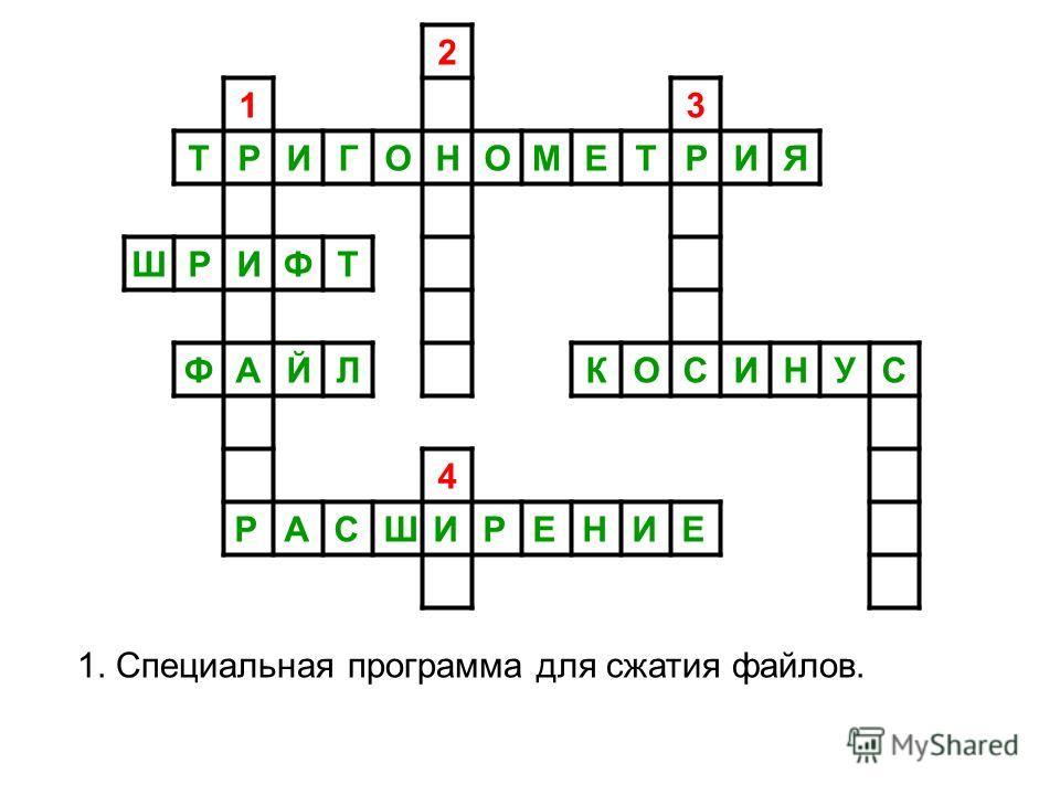 2 13 ТРИГОНОМЕТРИЯ ШРИФТ ФАЙЛКОСИНУС 4 РАСШИРЕНИЕ 1. Специальная программа для сжатия файлов.