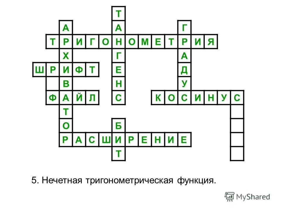 Т ААГ ТРИГОНОМЕТРИЯ ХГА ШРИФТЕД ВНУ ФАЙЛСКОСИНУС Т ОБ РАСШИРЕНИЕ Т 5. Нечетная тригонометрическая функция.