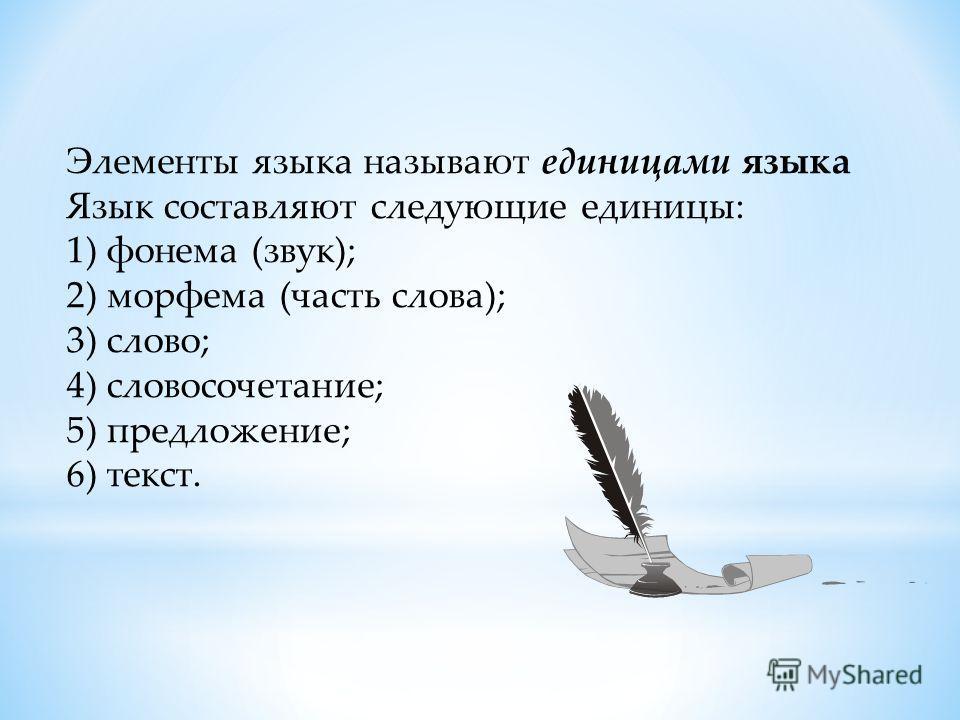 Элементы языка называют единицами языка Язык составляют следующие единицы: 1) фонема (звук); 2) морфема (часть слова); 3) слово; 4) словосочетание; 5) предложение; 6) текст.