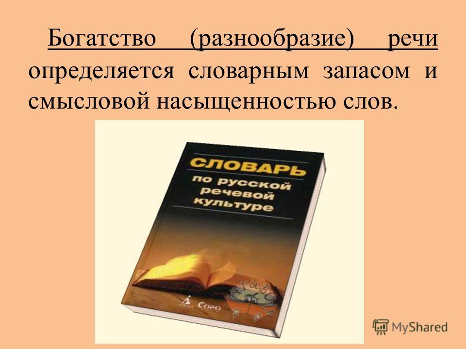 Богатство (разнообразие) речи определяется словарным запасом и смысловой насыщенностью слов.