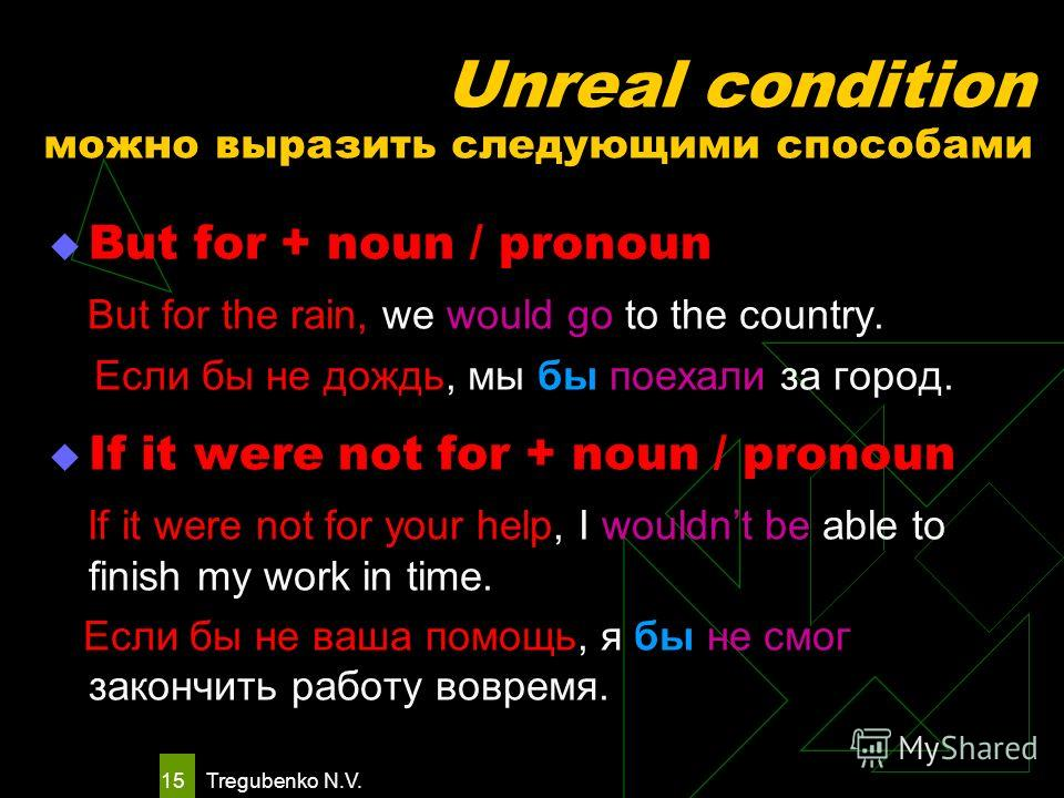 Tregubenko N.V. 14 It would be fatal if we lost a moment. It would have been fatal if we had lost a moment. Unreal condition II тип III тип