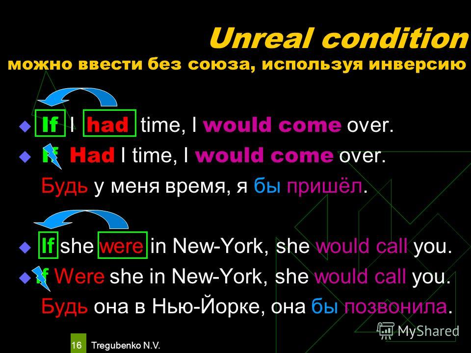 Tregubenko N.V. 15 Unreal condition можно выразить следующими способами But for + noun / pronoun But for the rain, we would go to the country. Если бы не дождь, мы бы поехали за город. If it were not for + noun / pronoun If it were not for your help,