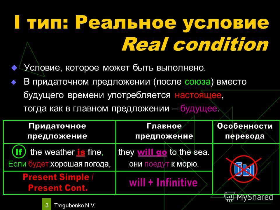 Tregubenko N.V. 2 Условные предложения могут выражать реальное и нереальное условие. Условные предложения вводятся союзами: if ……………... если unless ……….. если не in case ………. на тот случай, если provided при условии, если providing в том случае, если