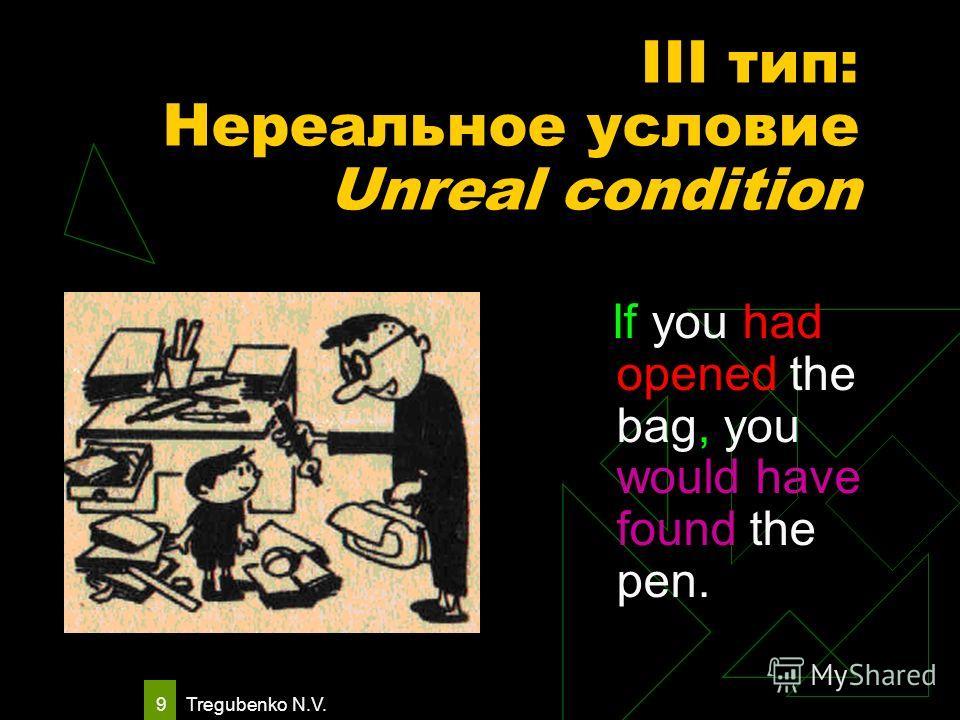 Tregubenko N.V. 8 III тип: Нереальное условие Unreal condition Условие относится к прошлому. Условие не может быть выполнено. If the weather had been fine yesterday, Если бы вчера была хорошая погода, they would have gone to the sea. они бы поехали к