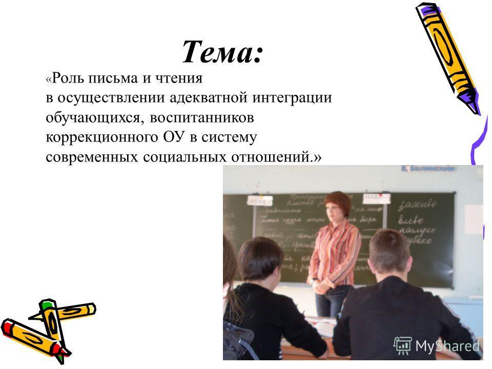 Тема: « Роль письма и чтения в осуществлении адекватной интеграции обучающихся, воспитанников коррекционного ОУ в систему современных социальных отношений.»
