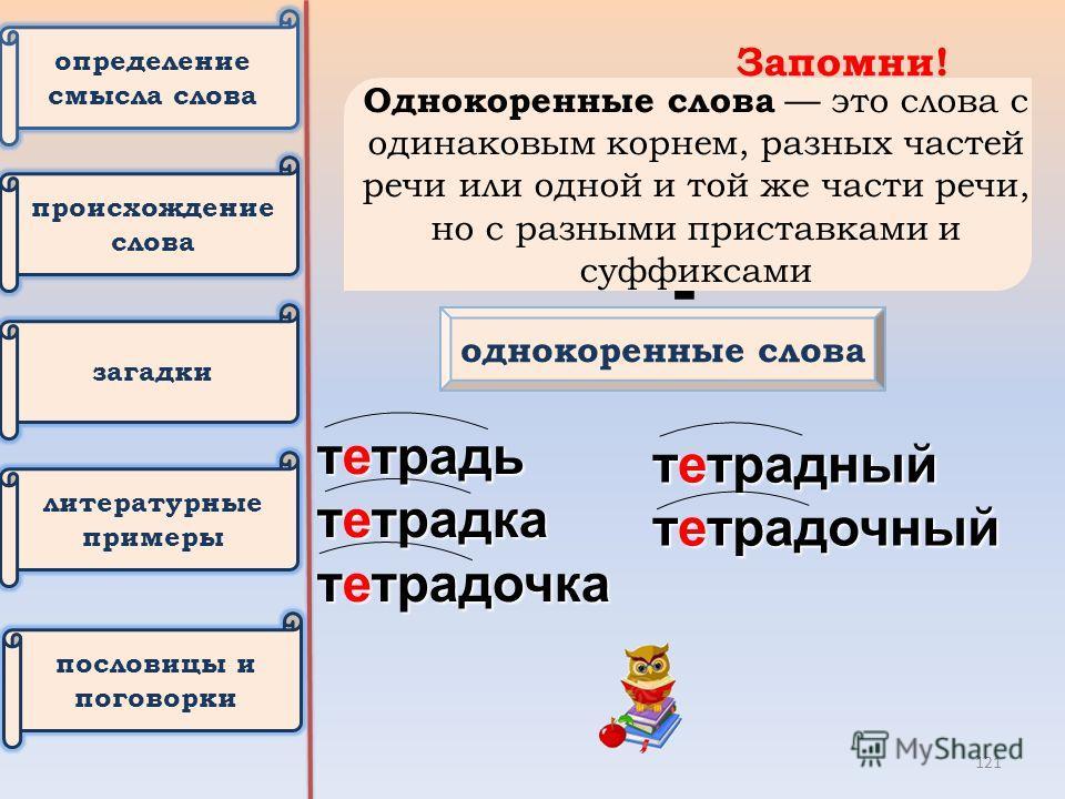 Запомни! тетрадь однокоренные слова тетрадь тетрадка тетрадочка тетрадный тетрадочный Однокоренные слова это слова с одинаковым корнем, разных частей речи или одной и той же части речи, но с разными приставками и судфиксами определение смысла слова п