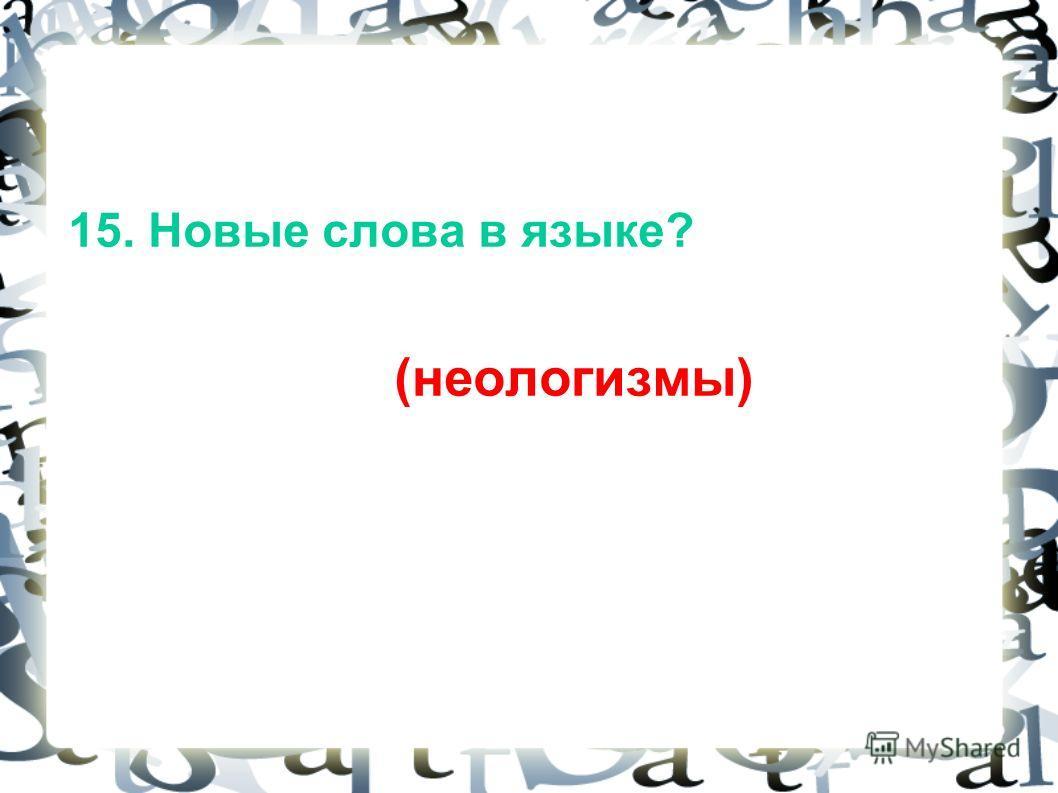 15. Новые слова в языке? (неологизмы)