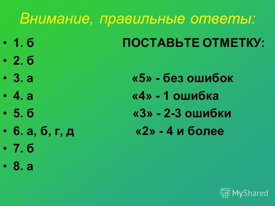 Внимание, правильные ответы: 1. б ПОСТАВЬТЕ ОТМЕТКУ: 2. б 3. а «5» - без ошибок 4. а «4» - 1 ошибка 5. б «3» - 2-3 ошибки 6. а, б, г, д «2» - 4 и более 7. б 8. а