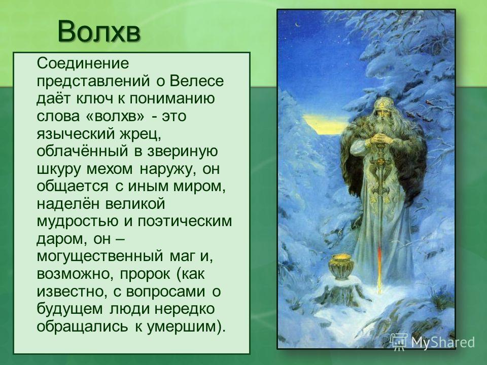 Волхв Соединение представлений о Велесе даёт ключ к пониманию слова «волхв» - это языческий жрец, облачённый в звериную шкуру мехом наружу, он общается с иным миром, наделён великой мудростью и поэтическим даром, он – могущественный маг и, возможно,