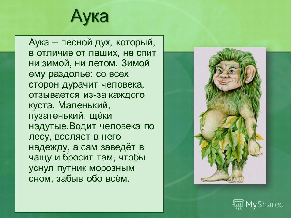 Аука Аука – лесной дух, который, в отличие от леших, не спит ни зимой, ни летом. Зимой ему раздолье: со всех сторон дурачит человека, отзывается из-за каждого куста. Маленький, пузатенький, щёки надутые.Водит человека по лесу, вселяет в него надежду,