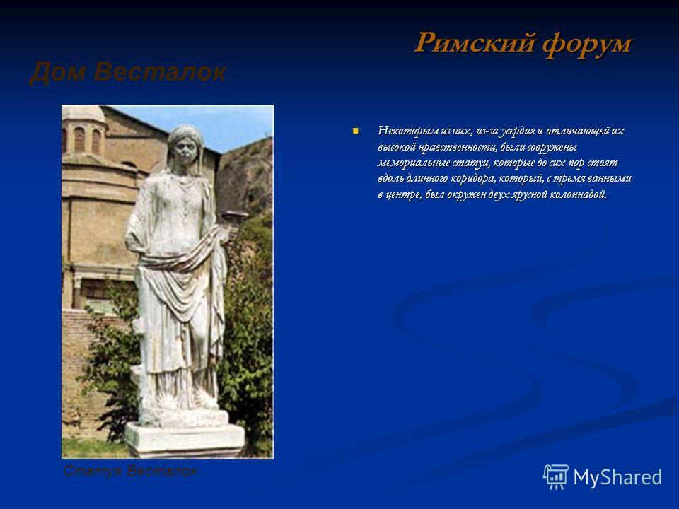 Некоторым из них, из-за усердия и отличающей их высокой нравственности, были сооружены мемориальные статуи, которые до сих пор стоят вдоль длинного коридора, который, с тремя ванными в центре, был окружен двух ярусной колоннадой. Римский форум Дом Ве