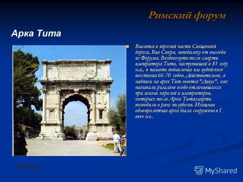 Высится в верхней части Священной дороги, Вия Сакра, неподалеку от выхода из Форума. Воздвигнута после смерти императора Тита, наступившей в 81 году н.а., в память подавления им иудейского восстания 66-70 годов. Действительно, в надписи на арке Тит з