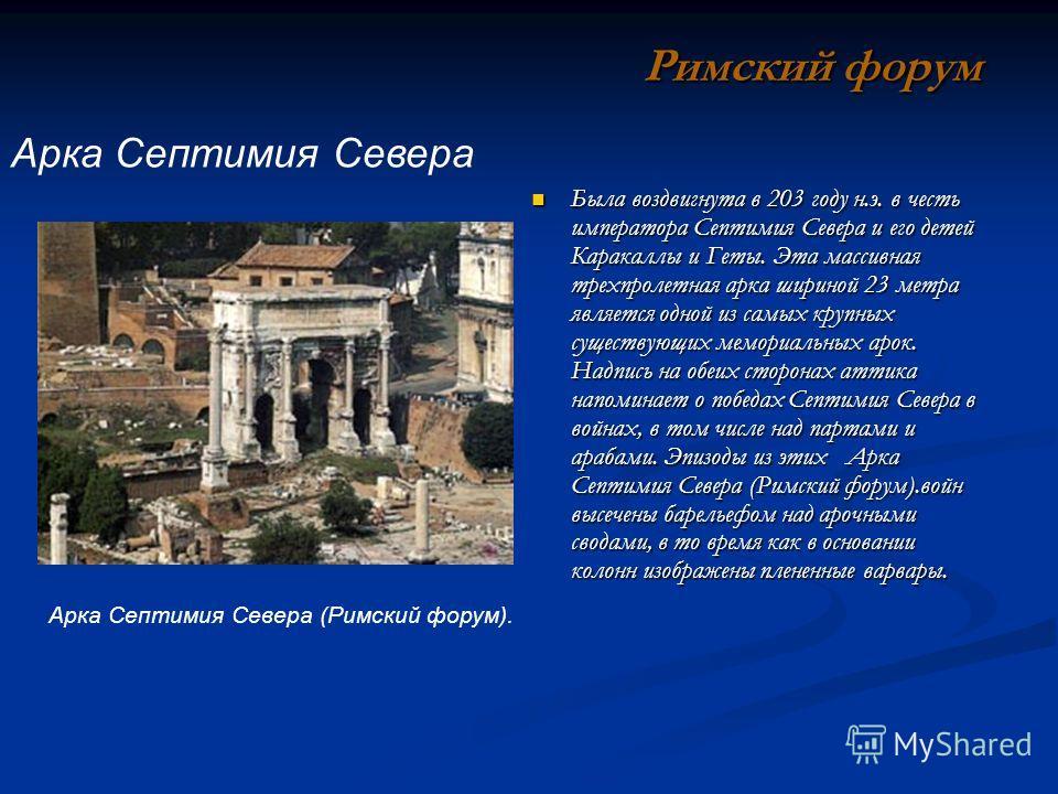 Была воздвигнута в 203 году н.э. в честь императора Септимия Севера и его детей Каракаллы и Геты. Эта массивная трехпролетная арка шириной 23 метра является одной из самых крупных существующих мемориальных арок. Надпись на обеих сторонах аттика напом