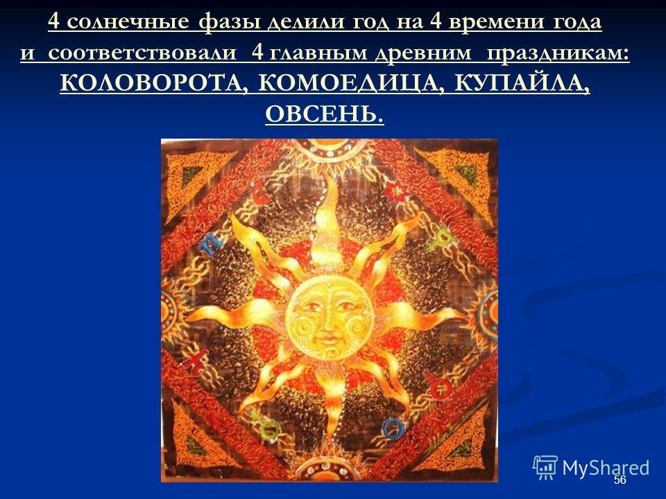 56 4 солнечные фазы делили год на 4 времени года и соответствовали 4 главным древним праздникам: КОЛОВОРОТА, КОМОЕДИЦА, КУПАЙЛА, ОВСЕНЬ.