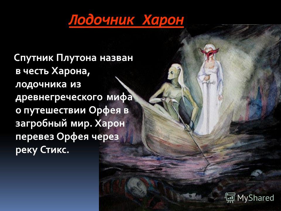 Лодочник Харон Спутник Плутона назван в честь Харона, лодочника из древнегреческого мифа о путешествии Орфея в загробный мир. Харон перевез Орфея через реку Стикс.