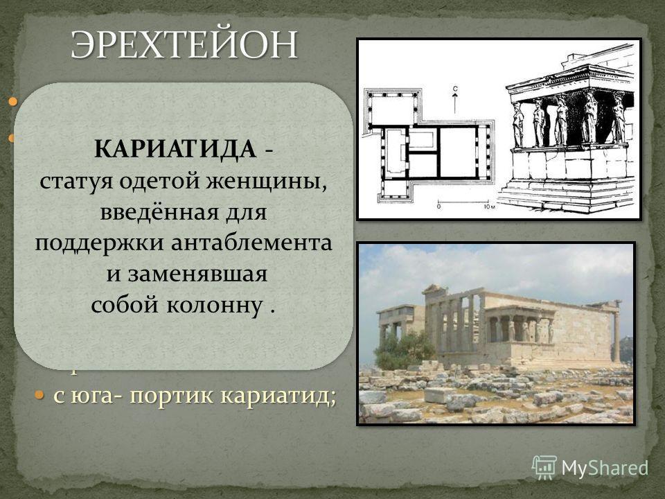 асимметричный план асимметричный план портики расположены на разных уровнях: портики расположены на разных уровнях: с запада - портик, ведущий в храм Афины Полиады (Городской), с запада - портик, ведущий в храм Афины Полиады (Городской), с севера вхо