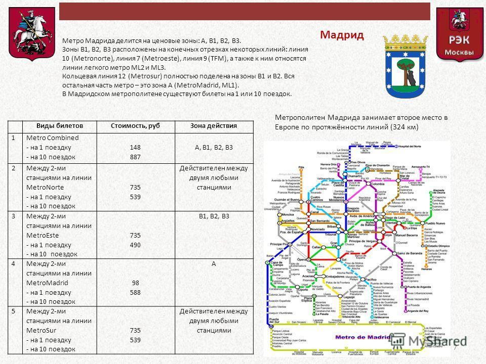 Мадрид Метро Мадрида делится на ценовые зоны: А, В1, В2, В3. Зоны В1, В2, В3 расположены на конечных отрезках некоторых линий: линия 10 (Metronorte), линия 7 (Metroeste), линия 9 (TFM), а также к ним относятся линии легкого метро ML2 и ML3. Кольцевая