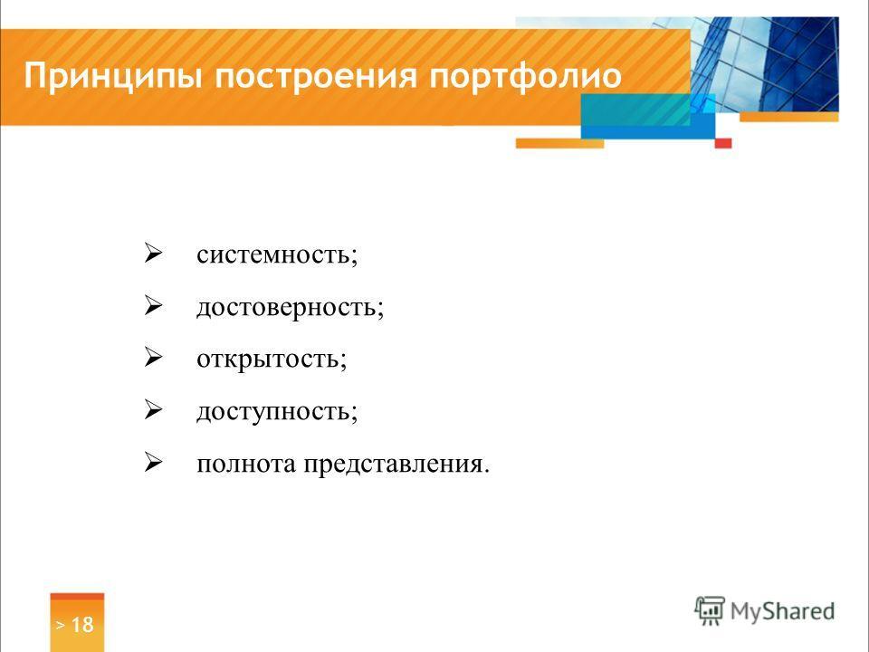 Принципы построения портфолио > 18 системность; достоверность; открытость; доступность; полнота представления.