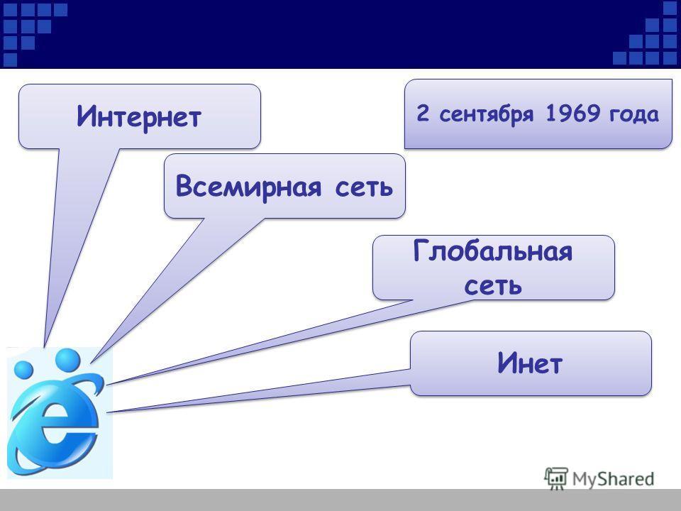 Интернет Всемирная сеть Глобальная сеть Инет 2 сентября 1969 года