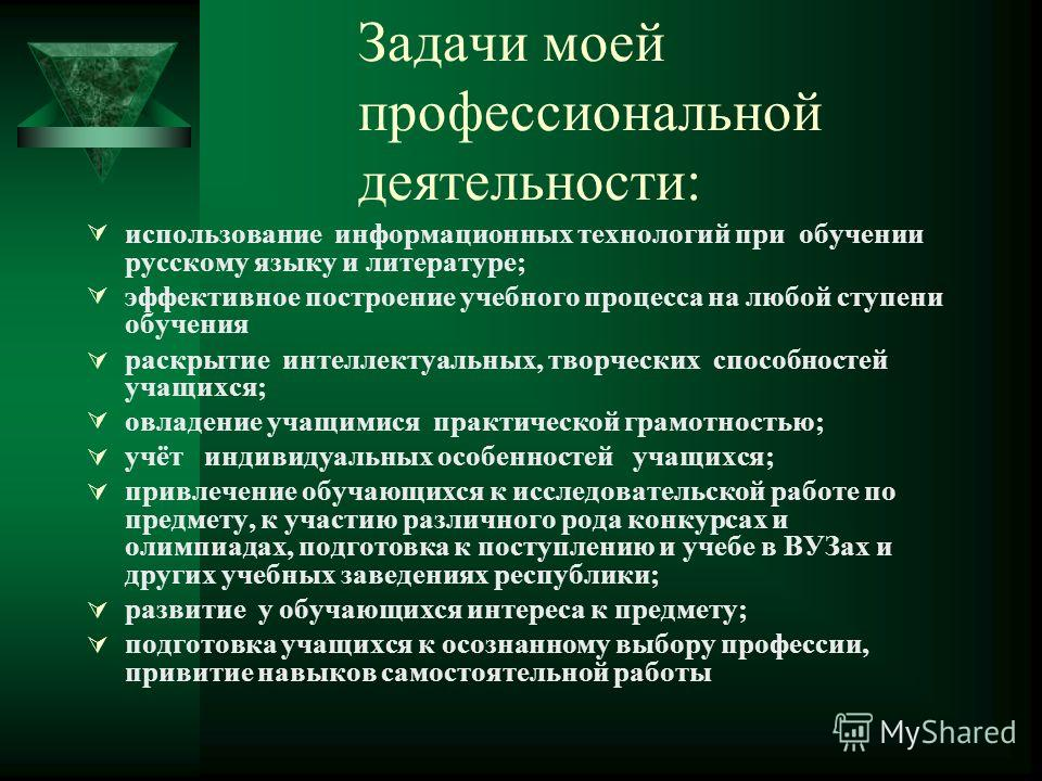 Задачи моей профессиональной деятельности: использование информационных технологий при обучении русскому языку и литературе; эффективное построение учебного процесса на любой ступени обучения раскрытие интеллектуальных, творческих способностей учащих