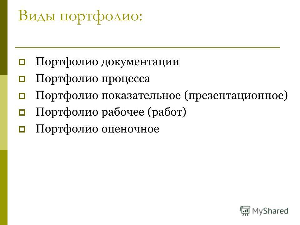 Виды портфолио: Портфолио документации Портфолио процесса Портфолио показательное (презентационное) Портфолио рабочее (работ) Портфолио оценочное