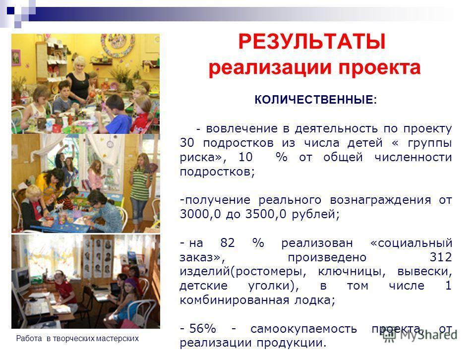 РЕЗУЛЬТАТЫ реализации проекта КОЛИЧЕСТВЕННЫЕ: - вовлечение в деятельность по проекту 30 подростков из числа детей « группы риска», 10 % от общей численности подростков; -получение реального вознаграждения от 3000,0 до 3500,0 рублей; - на 82 % реализо