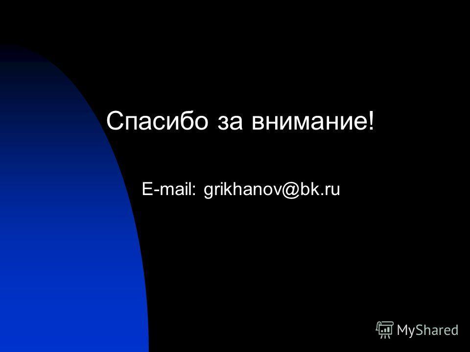 Спасибо за внимание! E-mail: grikhanov@bk.ru