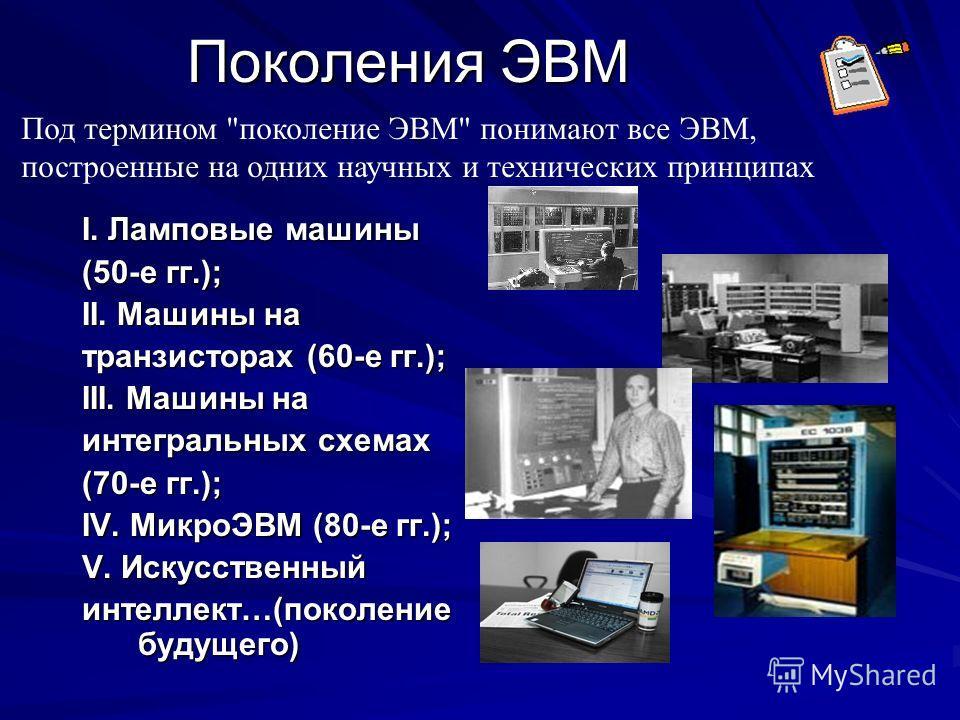 Поколения ЭВМ I. Ламповые машины (50-е гг.); II. Машины на транзисторах (60-е гг.); III. Машины на интегральных схемах (70-е гг.); IV. МикроЭВМ (80-е гг.); V. Искусственный интеллект…(поколение будущего) Под термином