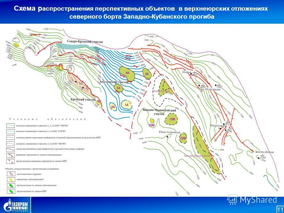 Схема распространения перспективных объектов в верхнеюрских отложениях северного борта Западно-Кубанского прогиба 11
