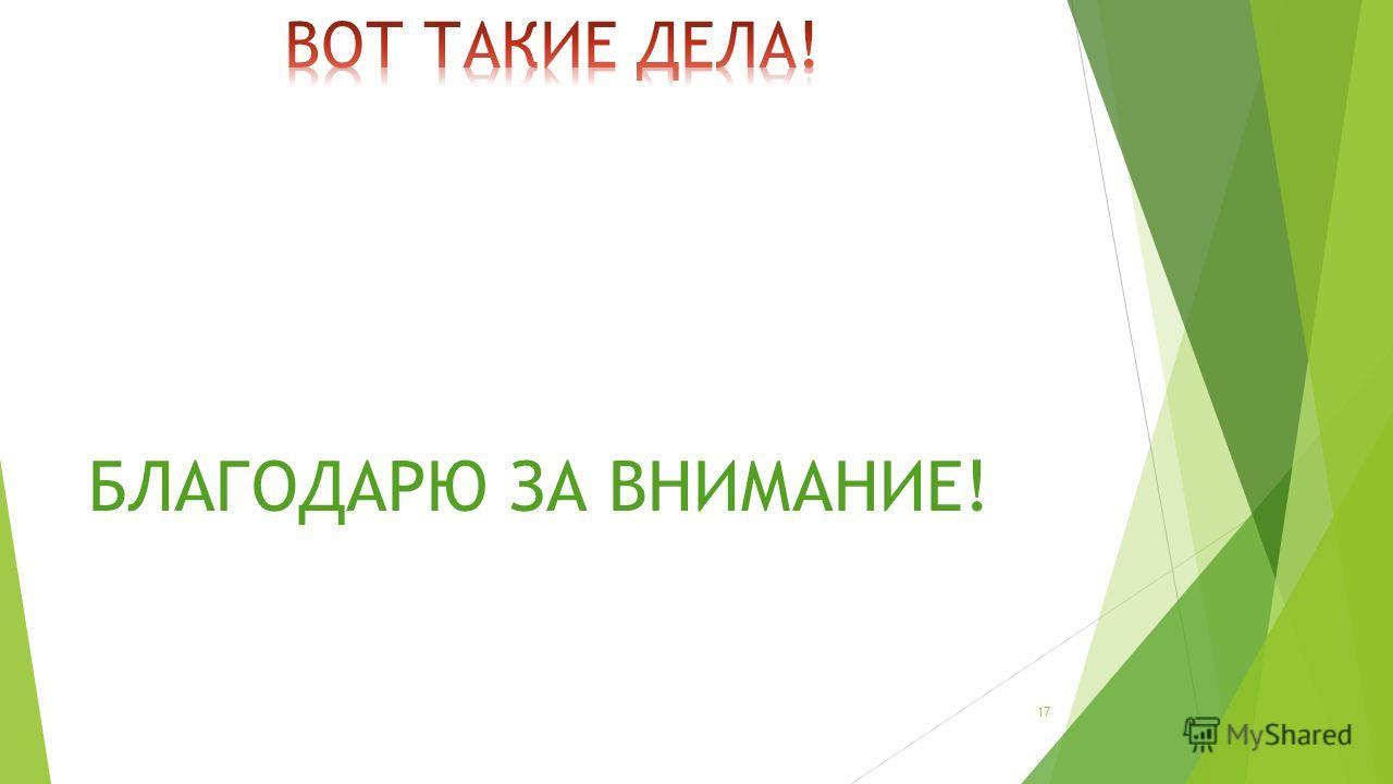 БЛАГОДАРЮ ЗА ВНИМАНИЕ! 17