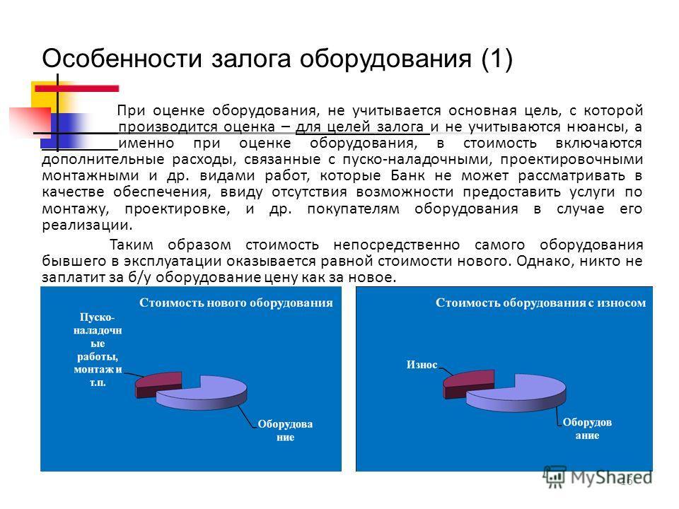 16 Особенности залога оборудования (1) При оценке оборудования, не учитывается основная цель, с которой _________производится оценка – для целей залога и не учитываются нюансы, а _________именно при оценке оборудования, в стоимость включаются дополни