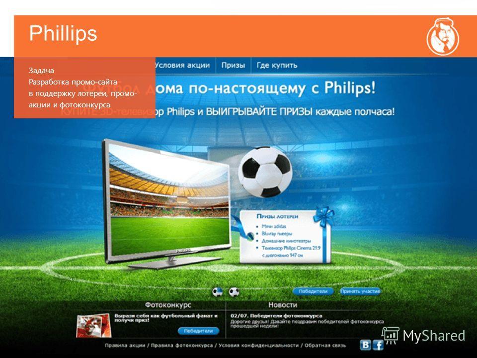 Phillips Задача Разработка промо-сайта в поддержку лотереи, промо- акции и фотоконкурса