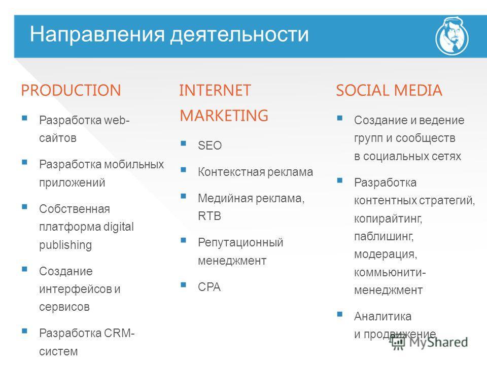 Направления деятельности PRODUCTION Разработка web- сайтов Разработка мобильных приложений Собственная платформа digital publishing Создание интерфейсов и сервисов Разработка CRM- систем Разработка приложений для социальных сетей INTERNET MARKETING S