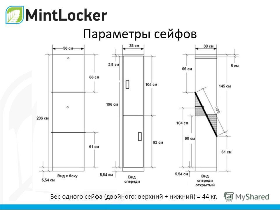Параметры сейфов Вес одного сейфа (двойного: верхний + нижний) = 44 кг.