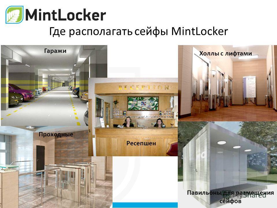 Где располагать сейфы MintLocker Гаражи Проходные Ресепшен Холлы с лифтами Павильоны для размещения сейфов