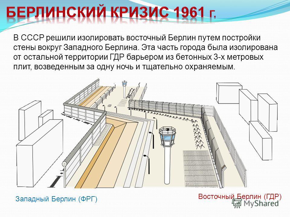 В СССР решили изолировать восточный Берлин путем постройки стены вокруг Западного Берлина. Эта часть города была изолирована от остальной территории ГДР барьером из бетонных 3-х метровых плит, возведенным за одну ночь и тщательно охраняемым. Восточны