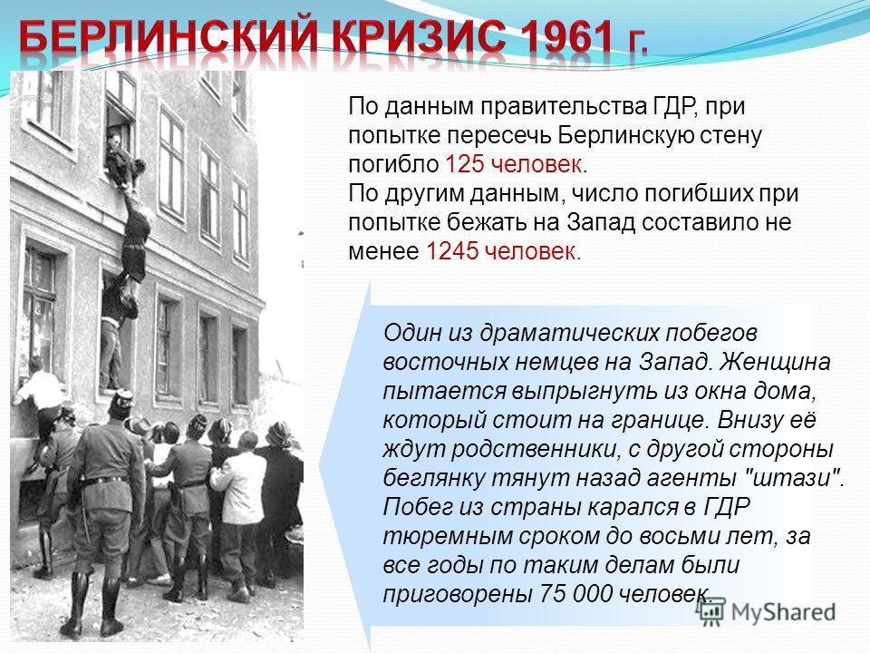 По данным правительства ГДР, при попытке пересечь Берлинскую стену погибло 125 человек. По другим данным, число погибших при попытке бежать на Запад составило не менее 1245 человек. Один из драматических побегов восточных немцев на Запад. Женщина пыт
