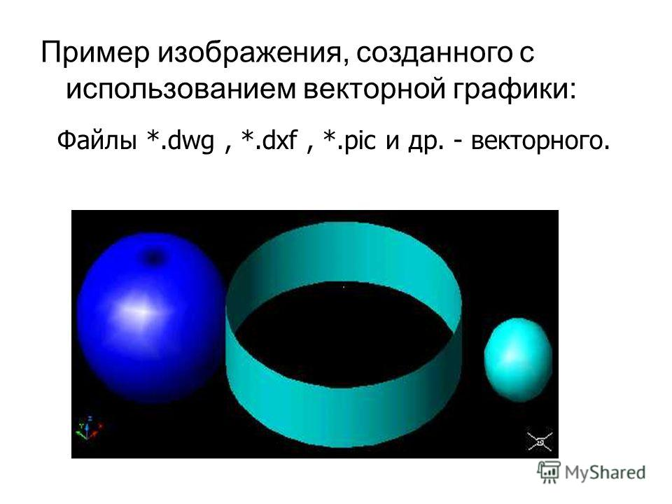 Пример изображения, созданного с использованием векторной графики: Файлы *.dwg, *.dxf, *.pic и др. - векторного.