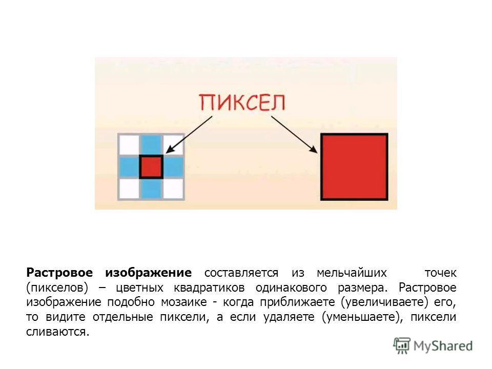 Растровое изображение составляется из мельчайших точек (пикселов) – цветных квадратиков одинакового размера. Растровое изображение подобно мозаике - когда приближаете (увеличиваете) его, то видите отдельные пиксели, а если удаляете (уменьшаете), пикс