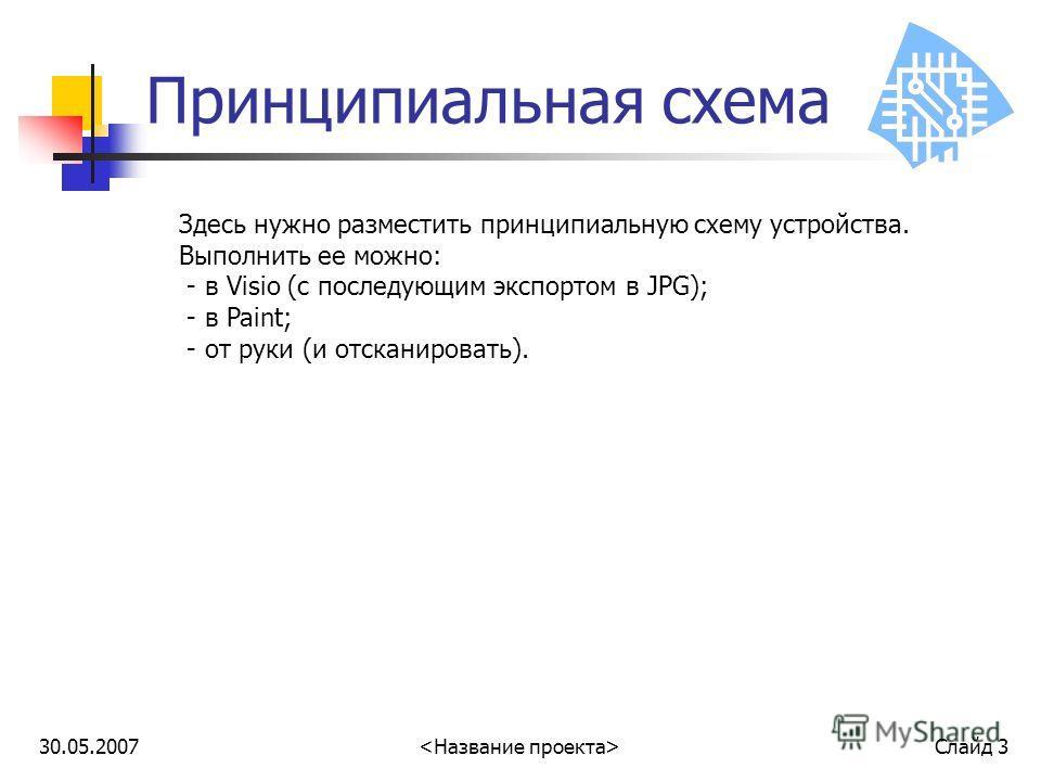 30.05.2007 Слайд 3 Принципиальная схема Здесь нужно разместить принципиальную схему устройства. Выполнить ее можно: - в Visio (с последующим экспортом в JPG); - в Paint; - от руки (и отсканировать).