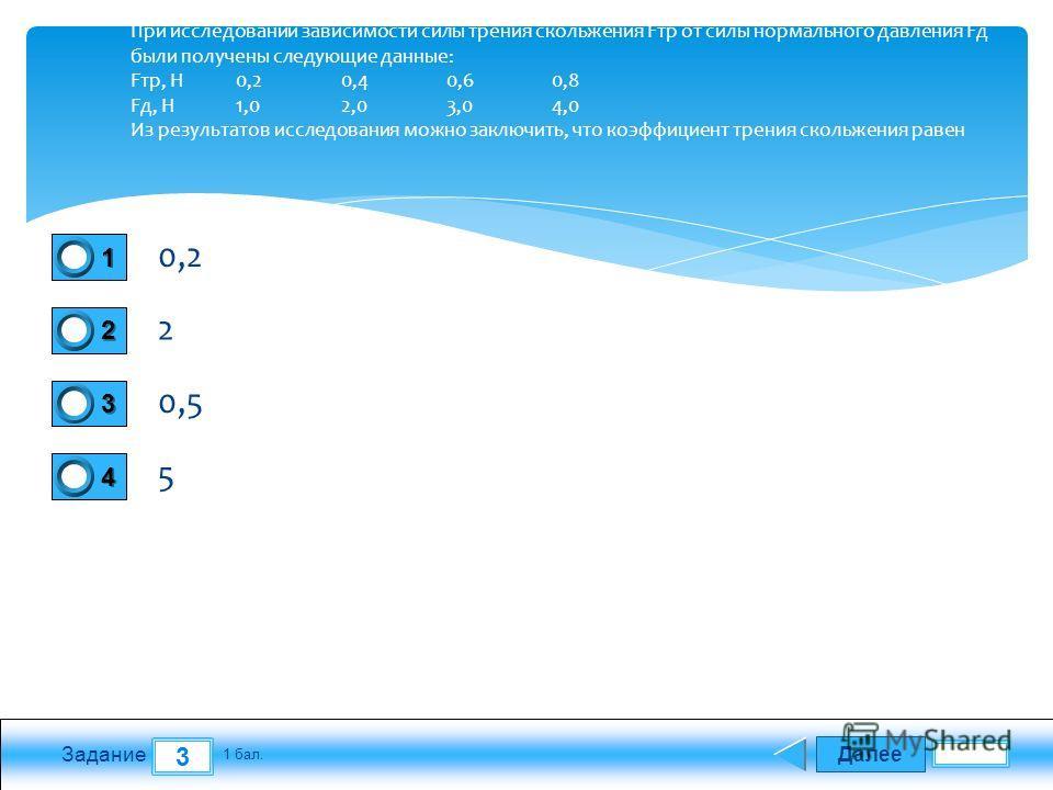 Далее 3 Задание 1 бал. 1111 2222 3333 4444 При исследовании зависимости силы трения скольжения Fтр от силы нормального давления Fд были получены следующие данные: Fтр, Н 0,2 0,4 0,6 0,8 Fд, Н 1,0 2,0 3,0 4,0 Из результатов исследования можно заключит