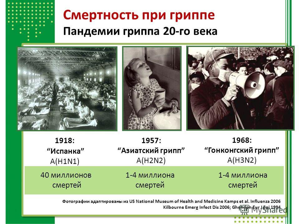 1918: Испанка A(H1N1) 1957:Азиатский грипп A(H2N2) 1968:Гонконгский грипп A(H3N2) Фотографии адаптированы из US National Museum of Health and Medicine Kamps et al. Influenza 2006 Kilbourne Emerg Infect Dis 2006; Ghendon Eur J Epi 1994 Смертность при