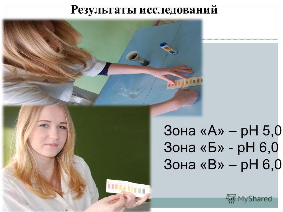 Результаты исследований Зона «А» – рН 5,0 Зона «Б» - рН 6,0 Зона «В» – рН 6,0