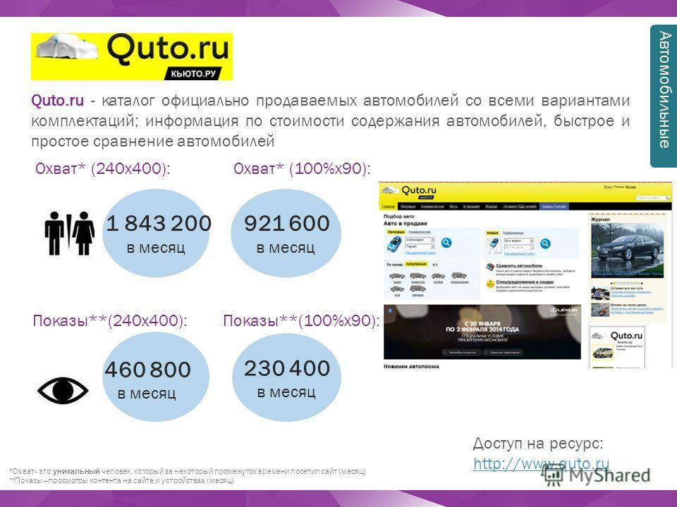 Quto.ru - каталог официально продаваемых автомобилей со всеми вариантами комплектаций; информация по стоимости содержания автомобилей, быстрое и простое сравнение автомобилей Доступ на ресурс: http://www.quto.ru http://www.quto.ru *Охват- это уникаль