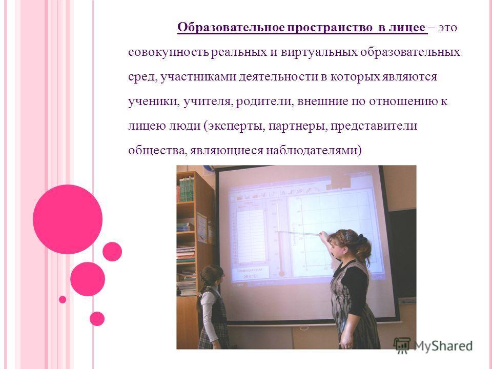Образовательное пространство в лицее – это совокупность реальных и виртуальных образовательных сред, участниками деятельности в которых являются ученики, учителя, родители, внешние по отношению к лицею люди (эксперты, партнеры, представители общества