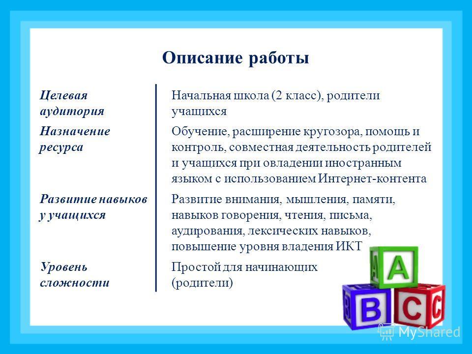 Целевая аудитория Начальная школа (2 класс), родители учащихся Назначение ресурса Обучение, расширение кругозора, помощь и контроль, совместная деятельность родителей и учащихся при овладении иностранным языком с использованием Интернет-контента Разв