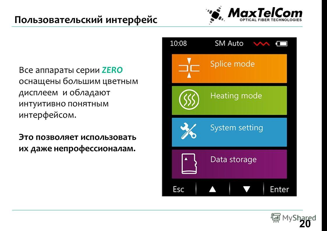 Все аппараты серии ZERO оснащены большим цветным дисплеем и обладают интуитивно понятным интерфейсом. Это позволяет использовать их даже непрофессионалам. 20 Пользовательский интерфейс