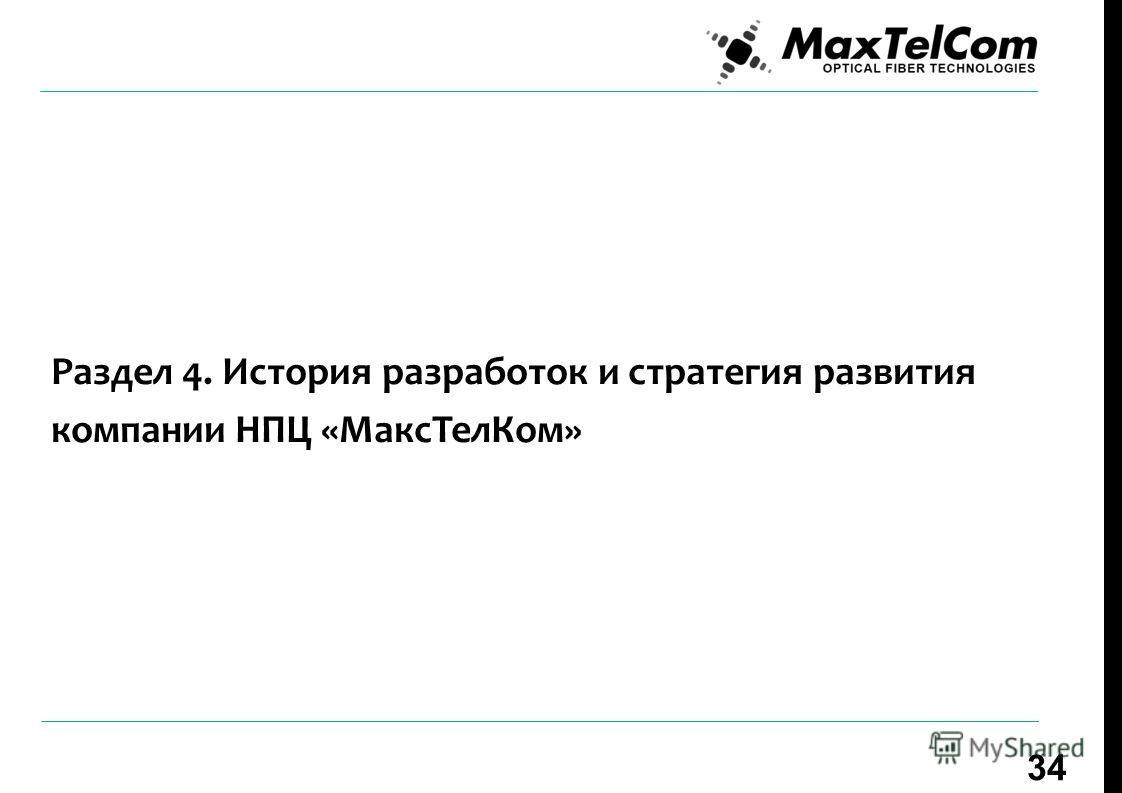 Раздел 4. История разработок и стратегия развития компании НПЦ «Макс ТелКом» 34