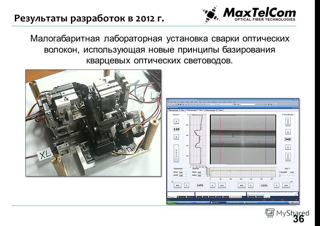 Малогабаритная лабораторная установка сварки оптических волокон, использующая новые принципы базирования кварцевых оптических световодов. 36 Результаты разработок в 2012 г.