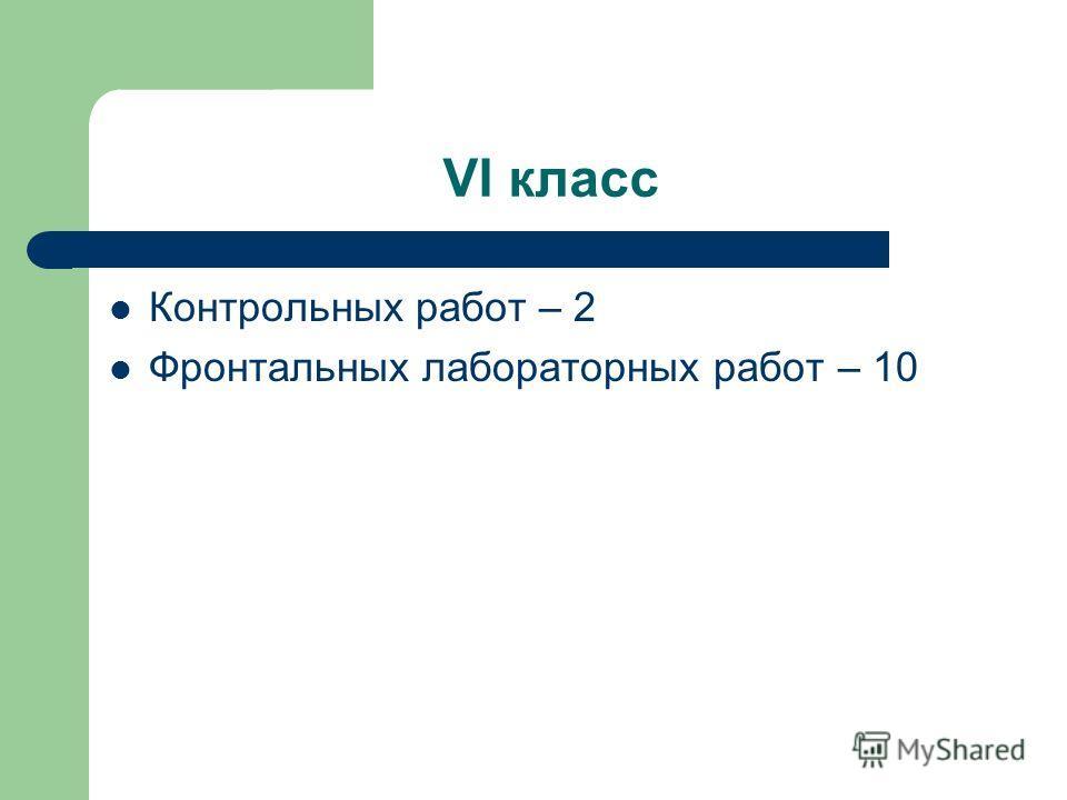 VI класс Контрольных работ – 2 Фронтальных лабораторных работ – 10